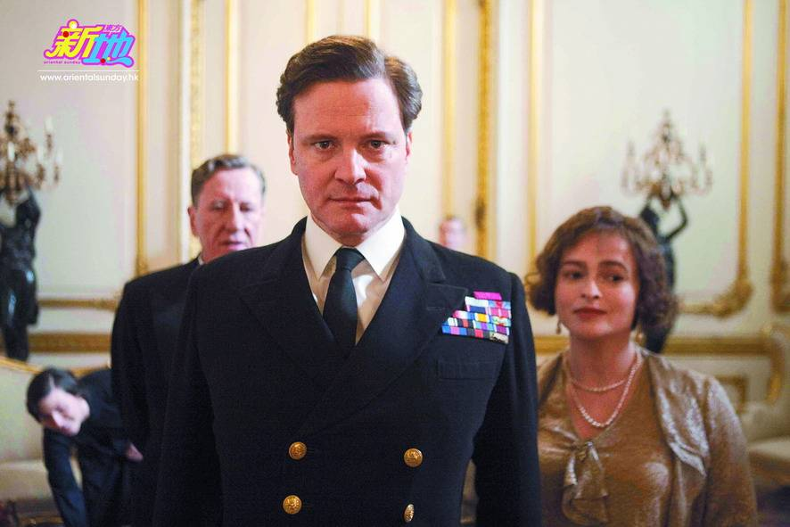 From left to right, GEOFFREY RUSH as Lionel Logue, COLIN FIRTH as Bertie (King George VI) and HELENA BONHAM CARTER as Elizabeth in THE KING'S SPEECH. In cinemas Jan 7 2011